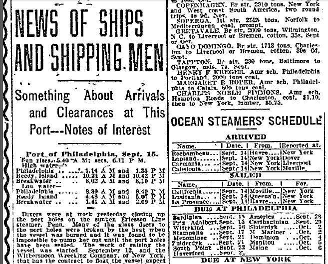 Philadelphia Inquirer 9/15/1913 - Ship Arrivals