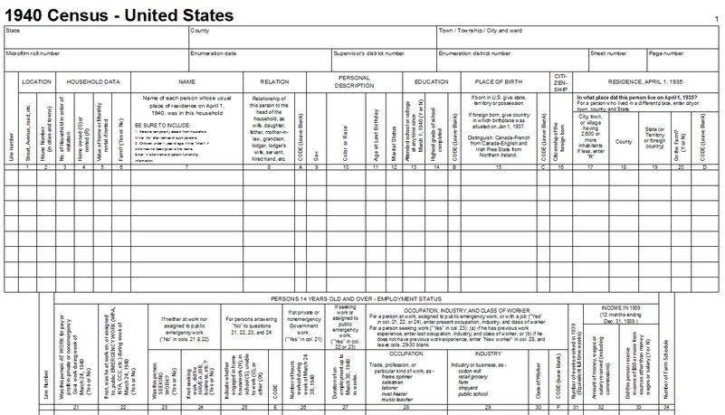 1940 US Census – Blank Forms — #Genealogy, #US, #Census | Stanczyk ...