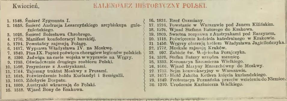 Polish Historical Calendar