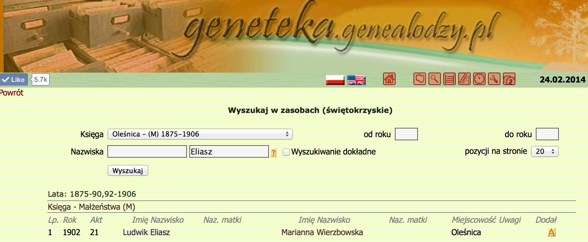 Ludwik Eliasz Marries Maryanna Wierzbocka
