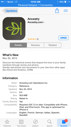 Ancestry App version 6.2