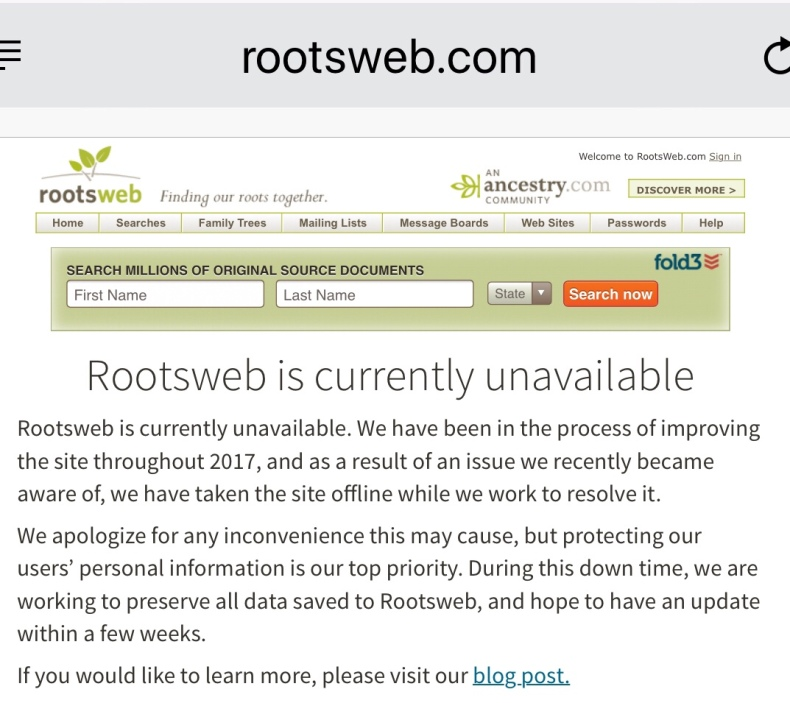 Rootsweb Dead? … #Unavailable