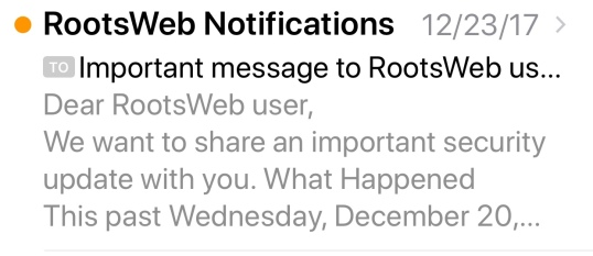 Rootsweb Security Notification