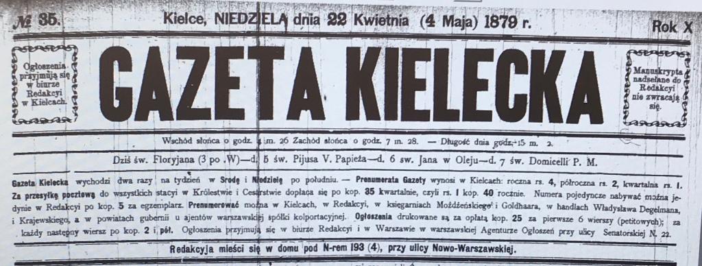 Gazeta Kielecka — 04-May-1879