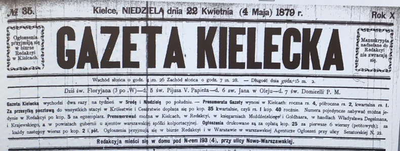 Gazeta Kielecka — 04-May-1879