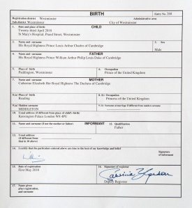 HRH Princess Charlotte — Birth Certificate