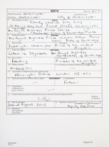 Prince Louis Arthur Charles - Birth Certificate