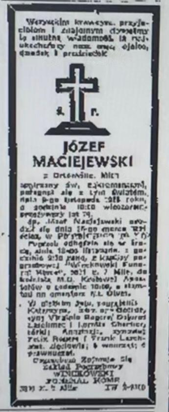 Józef Maciejewski — Ortonville, Mich.